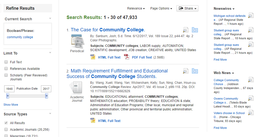 the results page from academic search complete