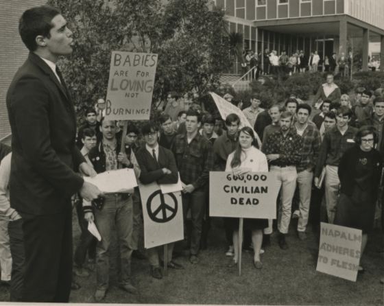 A 1968 photo of Cal Poly students protesting in front of the Administration Building.