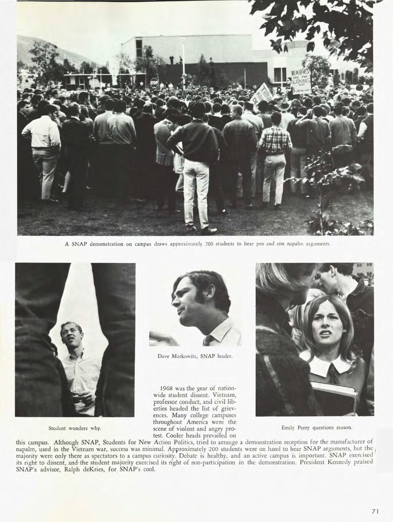 A page from the 1968 El Rodeo Yearbook showing four photos of students gathered in a protest on campus.
