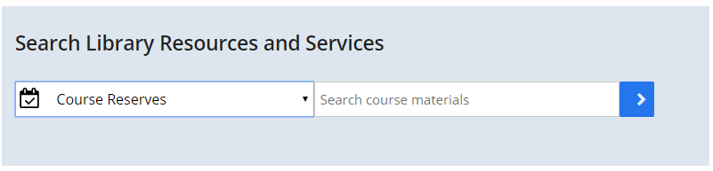 Screenshot of UMBrella search box on the Healey Library homepage with Course Reserves scope selected