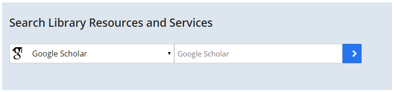 Screenshot of UMBrella search box on the Healey Library homepage with Google Scholar scope selected