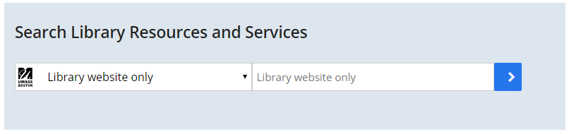 Screenshot of UMBrella search box on the Healey Library homepage with Library Website Only scope selected