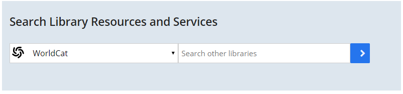 Screenshot of UMBrella search box on the Healey Library homepage with WorldCat scope selected