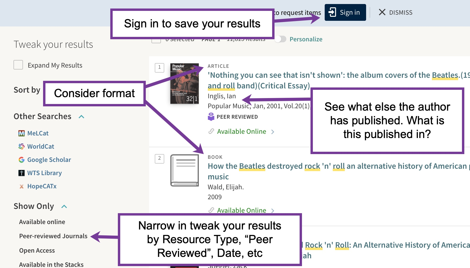 Screen shot of Hope Primo highlighting sign in to save, Publication format, author, publication titles and peer reviewed limiter
