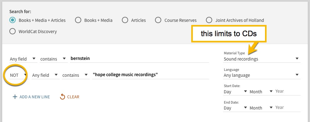 "Primo advanced search with ""not"" search for ""hope college music recordings"""