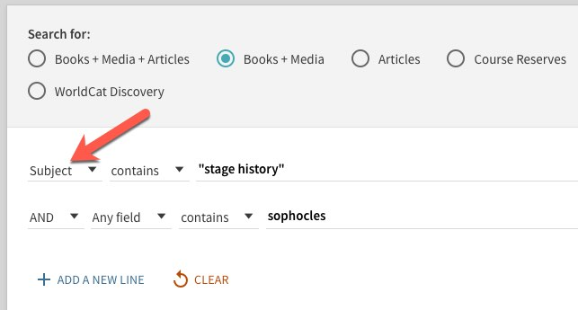 """advanced Primo search that includes Subject """"stage History"""" along with keyword sophocles"""