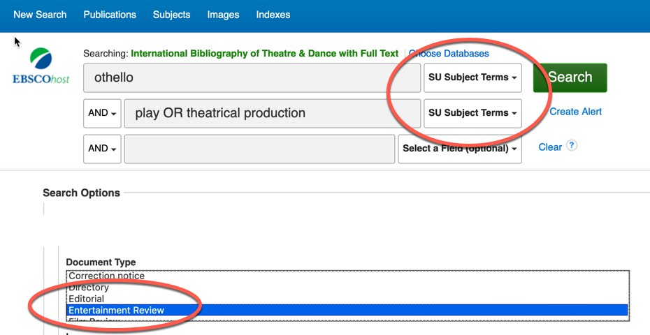 IBTD search for othello as a subject AND Play OR theatrical Production as subject. Document type is limited to Entertainment Review