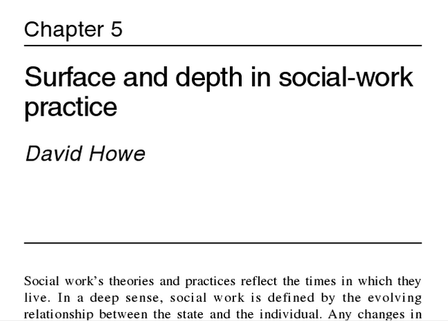 Chapter Five: Surface and depth in social-work practice