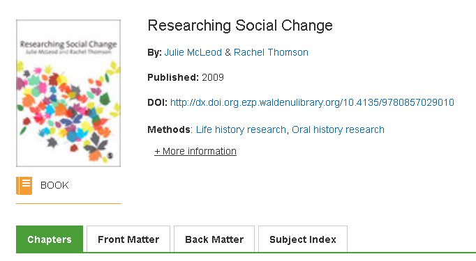 Researching social change. Book icon indicates book. Chapters, Front Matter, Back Matter, Subject Index also indicates book.