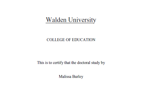 Walden University, College of Education, doctoral study