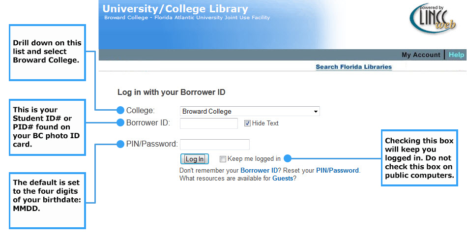 screenshot of the login screen to login to our databases