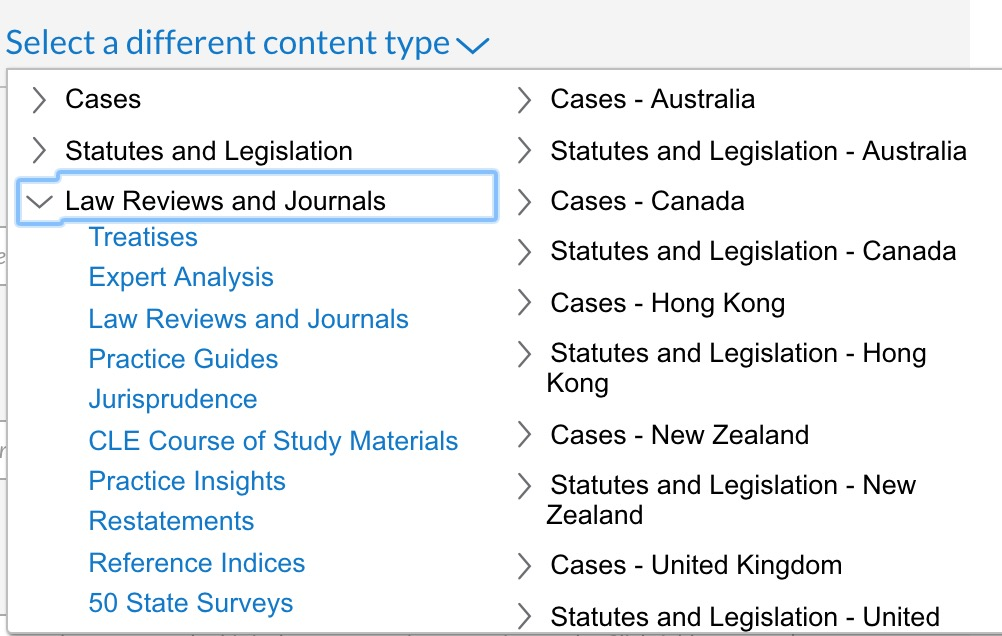 Once again, use the Advanced page drop-down menu to select Law Reviews and Journals.