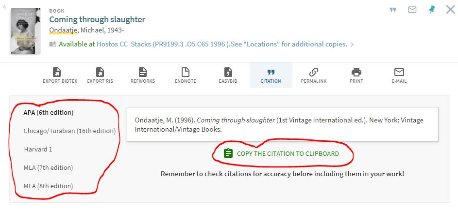 Image of Citation Tool in One Search