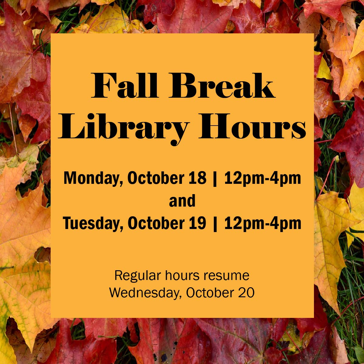Fall Break Hours October 18 12pm-4pm and October 19 12pm-4pm