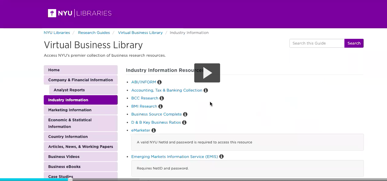 Screenshot of the NYU Virtual Business Library industry databases page