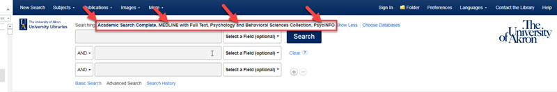 Ebsco search box with four databases listed above: academic search complete, medline, psycinfo, and the psychological and behavioral sciences collection listed
