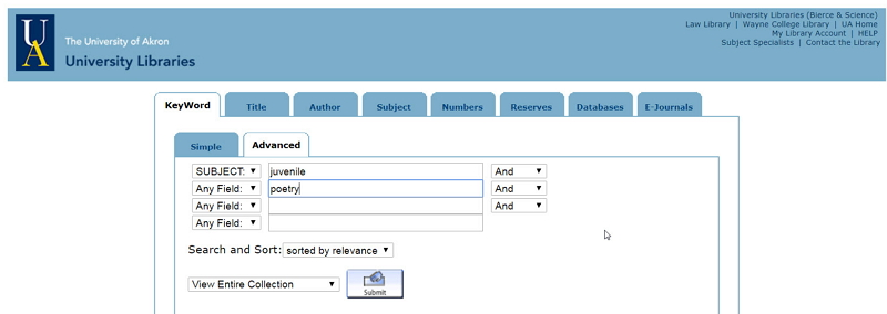 Advanced library catalog search for juvenile poetry