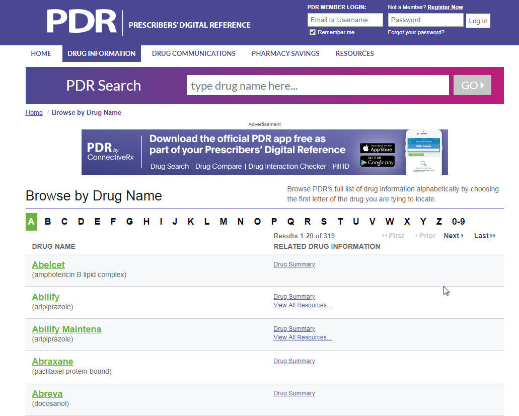 Screen image of Prescriber's Digital Reference alphabetical listing of drugs