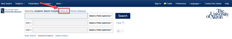 "Screen shot of Academic Search Complete pointing to link for ""Show All"" to list all databases being searched."