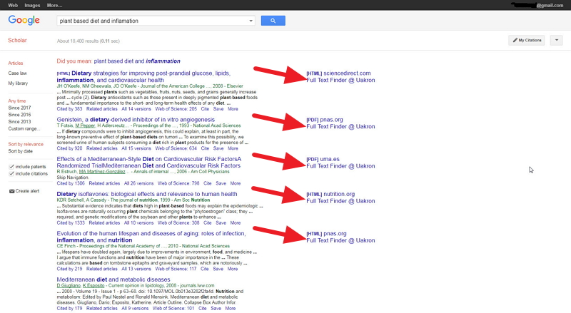 Arrows indicate the full text finder for several results in google scholar.