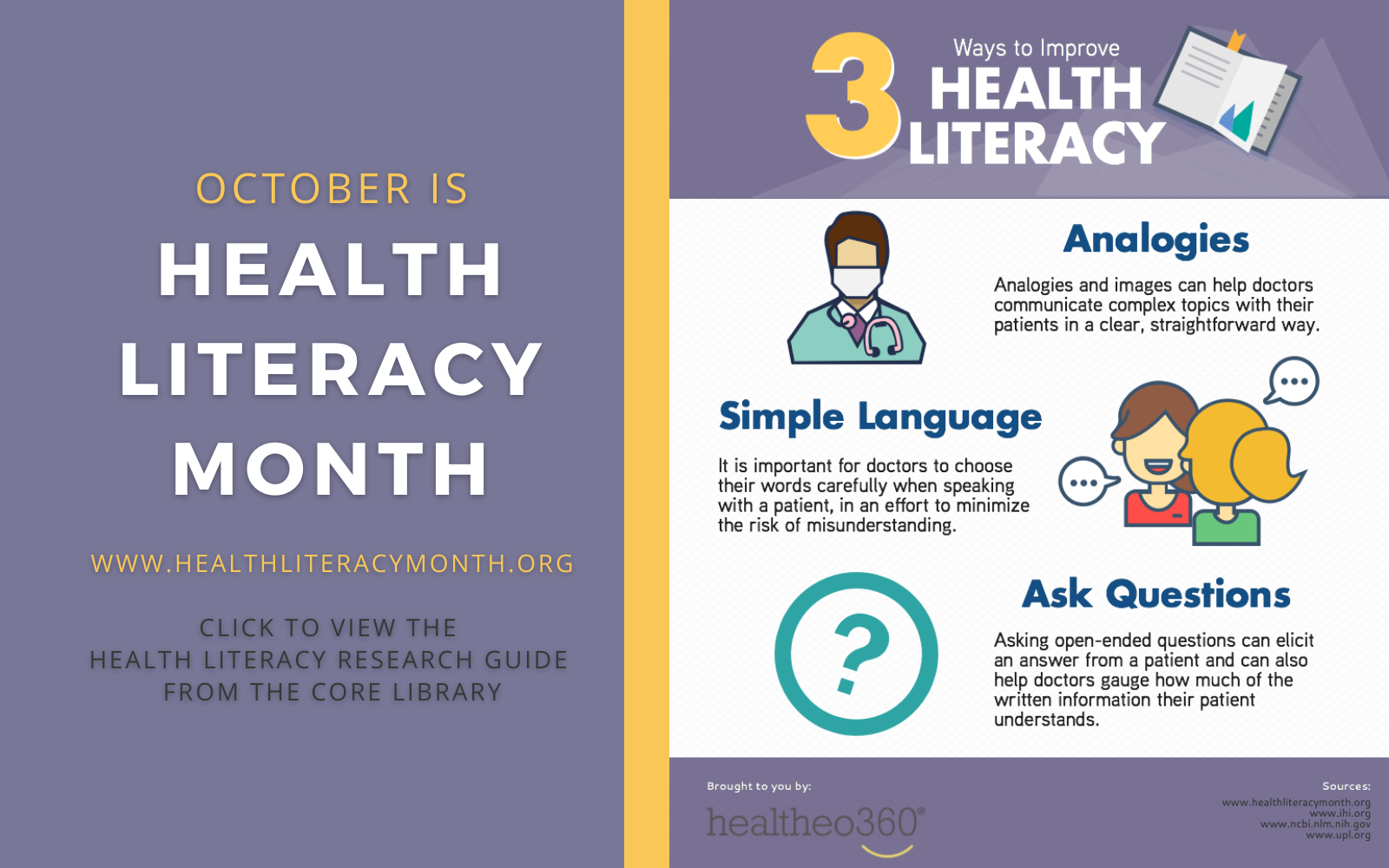 October is Health LIteracy Month.  Visit the Health Literacy Research Guide for more information.