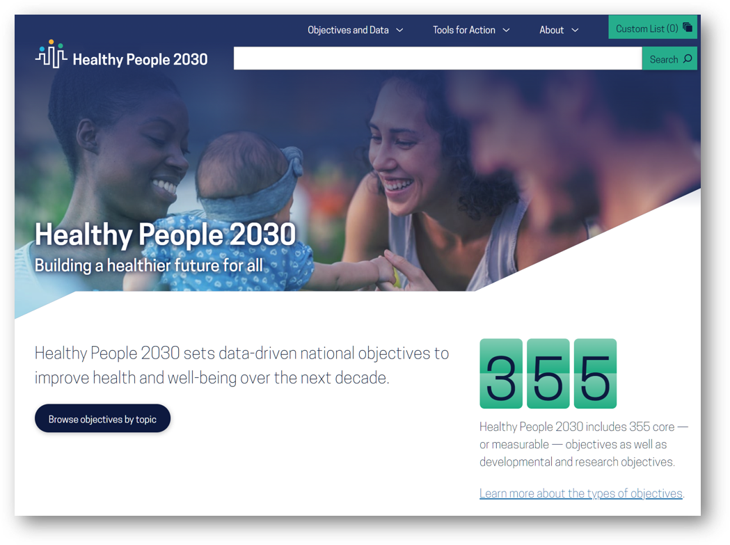 Home Page for Healthy People 2030
