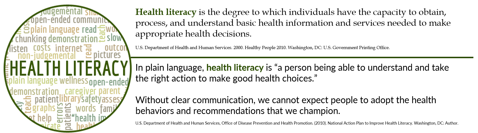 "In plain language, health literacy is ""a person being able to understand and take the right action to make good health choices."""