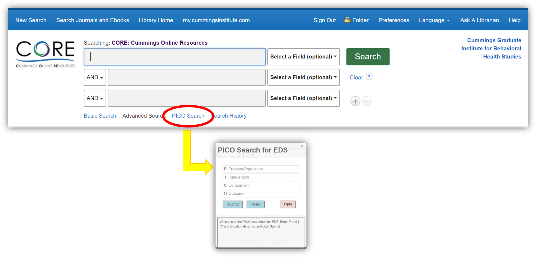 A special PICO search box is available in the CORE Library.