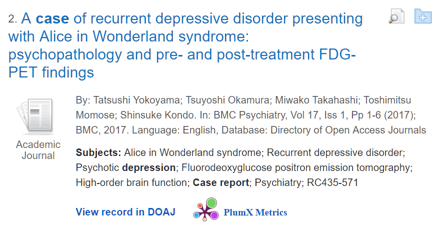 "Sample result.  Both the terms ""case report"" and ""depression"" are listed among the subject headings."