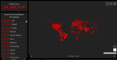 heat map of worldwide COVID-19 cases as of 8/27/20