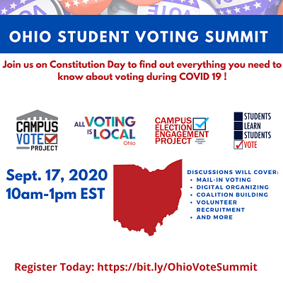 Ohio Student Voting Summit. Join us on Constitution Day to find out everything you need to know about voting during Covid19! 9/17/20 10a.m.-1p.m. EST. Register today: https://bit.ly/OhioVoteSummit. Discussions will cover: mail in voting; digital organizing; coalition building; volunteer recruitment, and more.