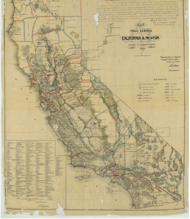 Antique map - Map of Public Surveys in California and Nevada, ca. 1872