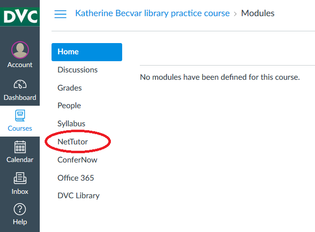 screenshot of Canvas interface with NetTutor circled in red