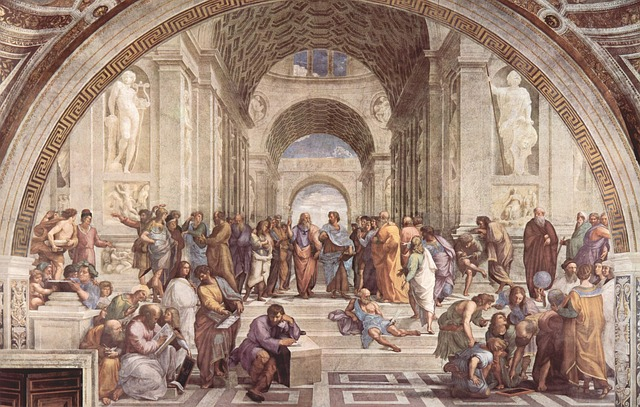 "Image of the famous painting ""Art School of Athens"" by Raphael"