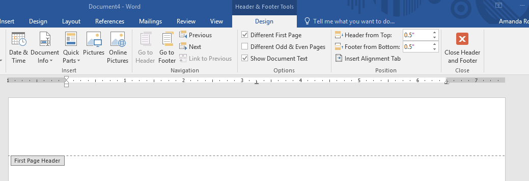 design tab with different first page selected no page number now in screenshot