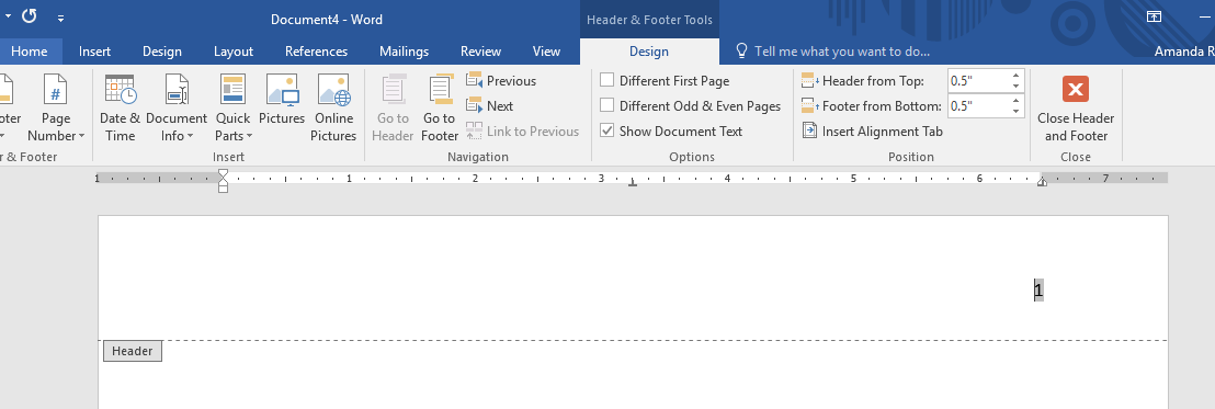 design tab and page number screenshot