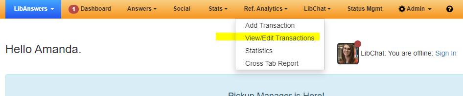 shows ref. analytics options