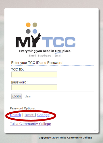 TCC login screen with unlock reset and change options highlighted