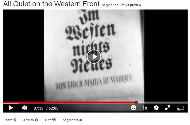 """Segment called """"all quiet on the western front"""""""