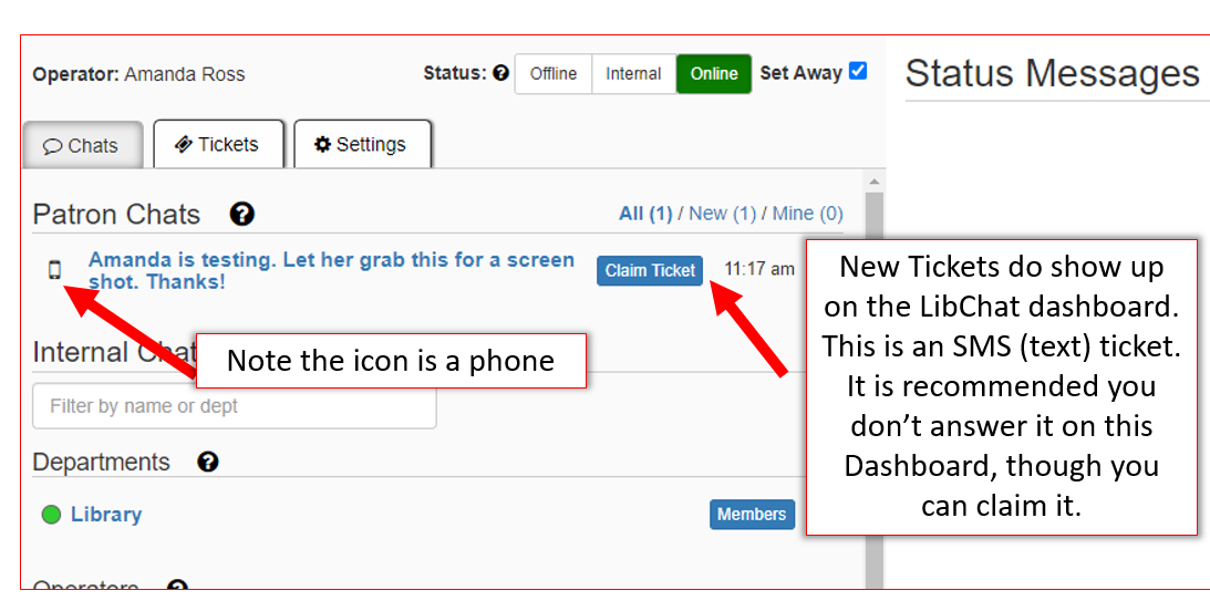 SMS option on chat dash