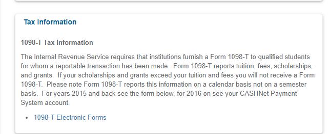 Tax information box on MyTCC