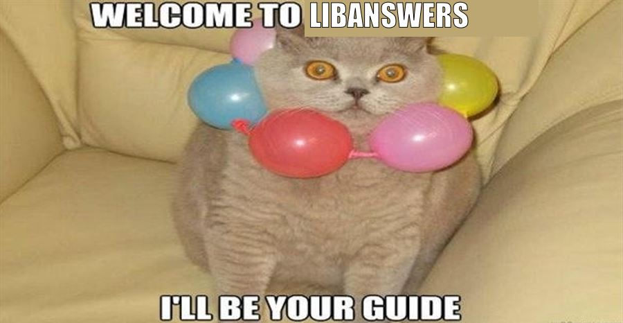 Cat meme saying welcome to libanswers i'll be your guide