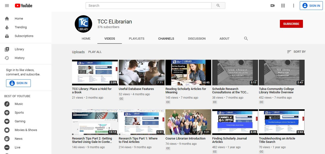 TCC Library YouTube