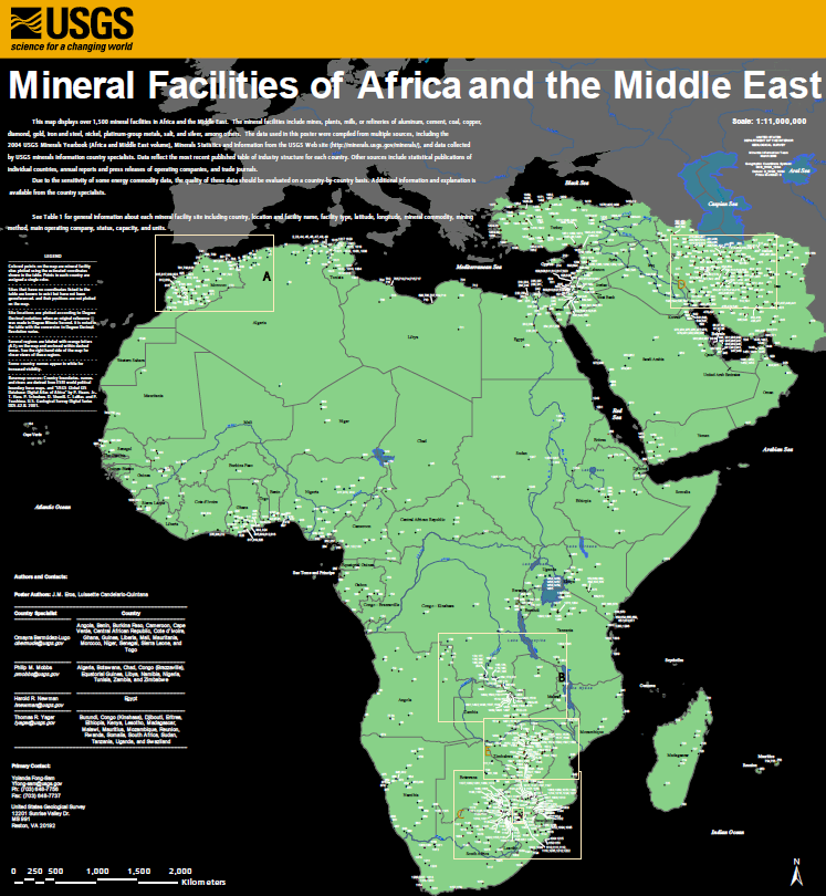 Mineral facilities of Africa and the Middle East