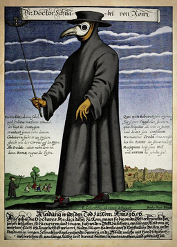 Copper engraving of Doctor Schnabel [i.e Dr. Beak], a plague doctor in seventeenth-century Rome, with a satirical macaronic poem ('Vos Creditis, als eine Fabel, / quod scribitur vom Doctor Schnabel') in octosyllabic rhyming couplets.
