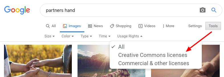 Google image search results page. tools selected, usage rights drop down activated, and a red arrow pointing toward all creative commons images