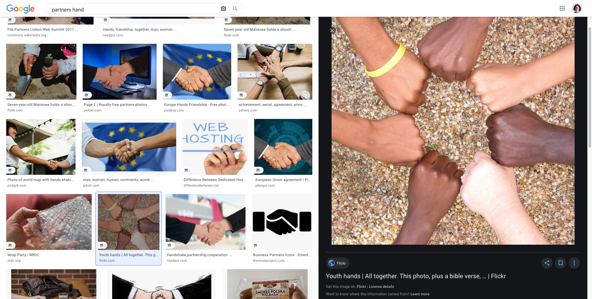 google images search results page with an image of a ring of 7 fists selected