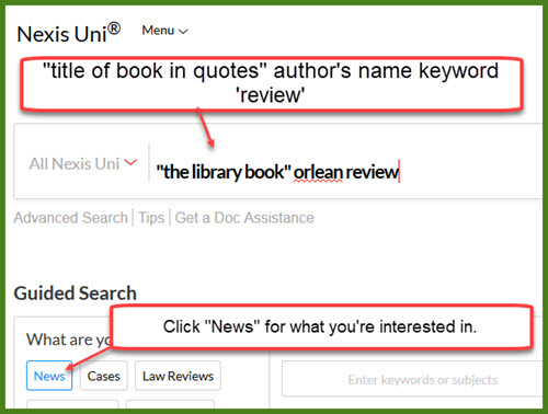 screen capture of Nexus uni book review search statement.