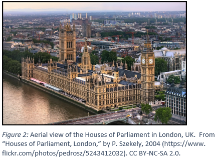 "Houses of Parliament with the caption Figure 2: Aerial view of the Houses of Parliament in London, UK.  From ""Houses of Parliament, London,"" by P. Szekely, 2004 (https://www. flickr.com/photos/pedrosz/5243412032). CC BY-NC-SA 2.0."