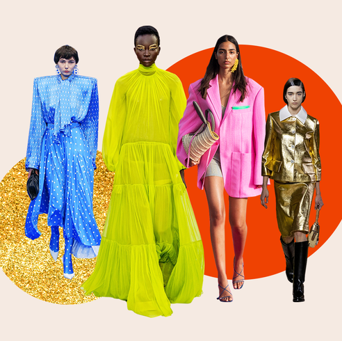 image of four models in colorful fashion clothing
